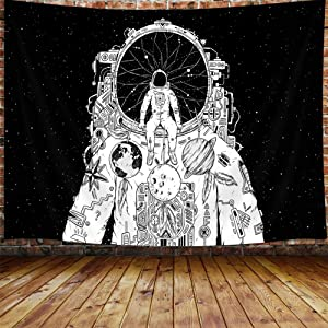 DYNH Psychedelic Astronaut Tapestry, Abstract Space Dreamcatcher Tapestry Wall Hanging for Bedroom College Dorm, Black and White Universe Galaxy Tapestry Home Decor 60X40 Inches