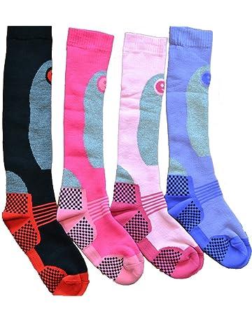 4 Pares Alto Rendimiento Mujer Ski Socks Largo Tubo Térmico Calcetines Talla 4-7