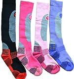 4 Pairs High Performance Ladies Ski Socks Long Hose Thermal Socks Size 4-7