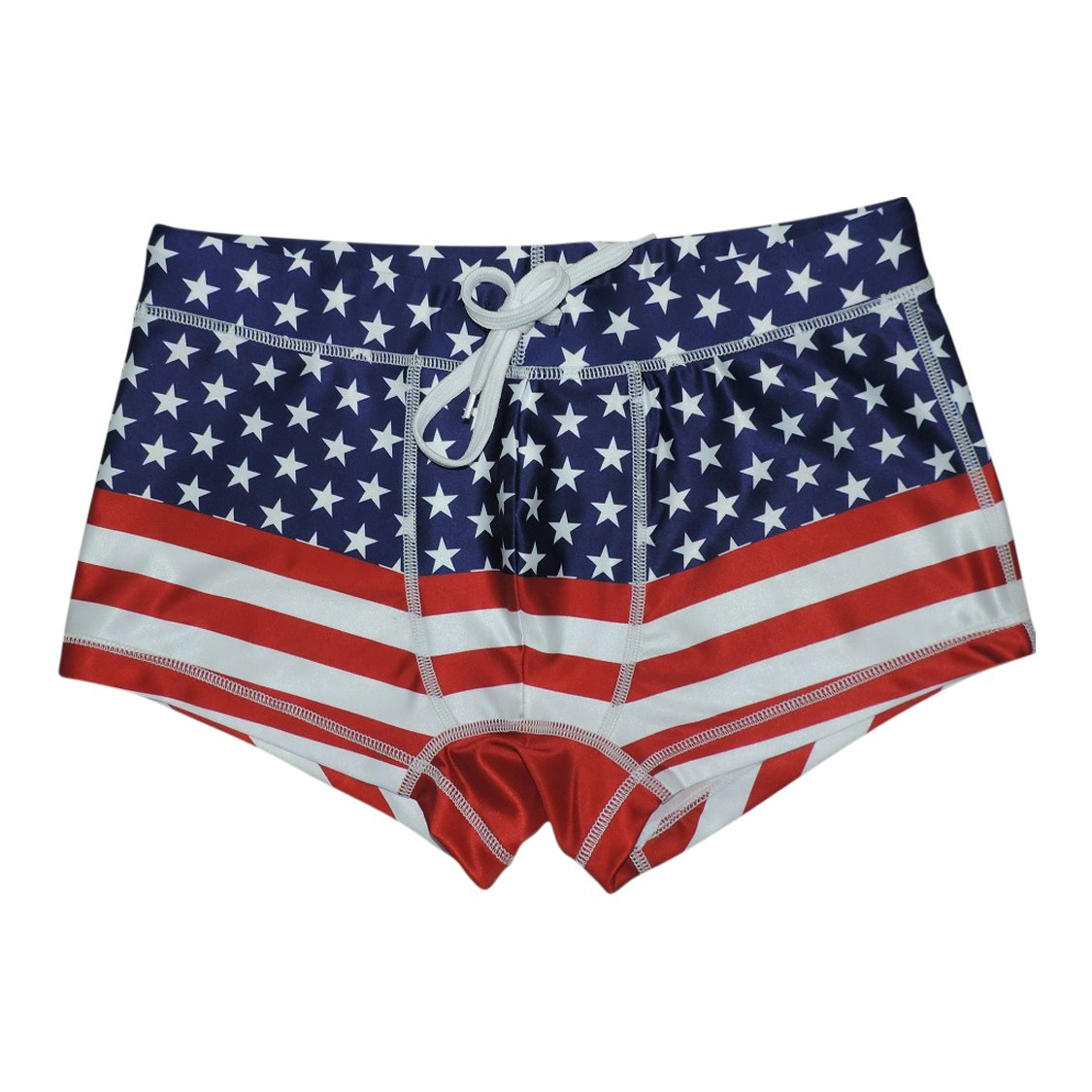 5th Industry 20+ Styles - Mens Swim Brief Square Leg Swimsuit - American Flag - Medium