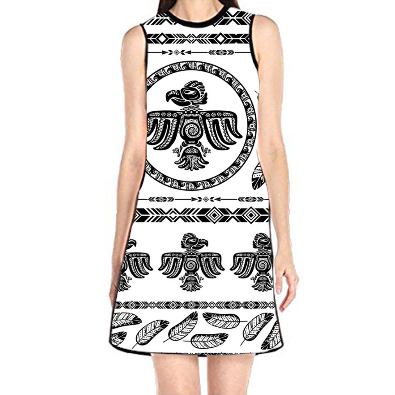 aportt Shift Dress Sleeveless Tank Dresses Flowers Icons Printed Beach Suit for Women