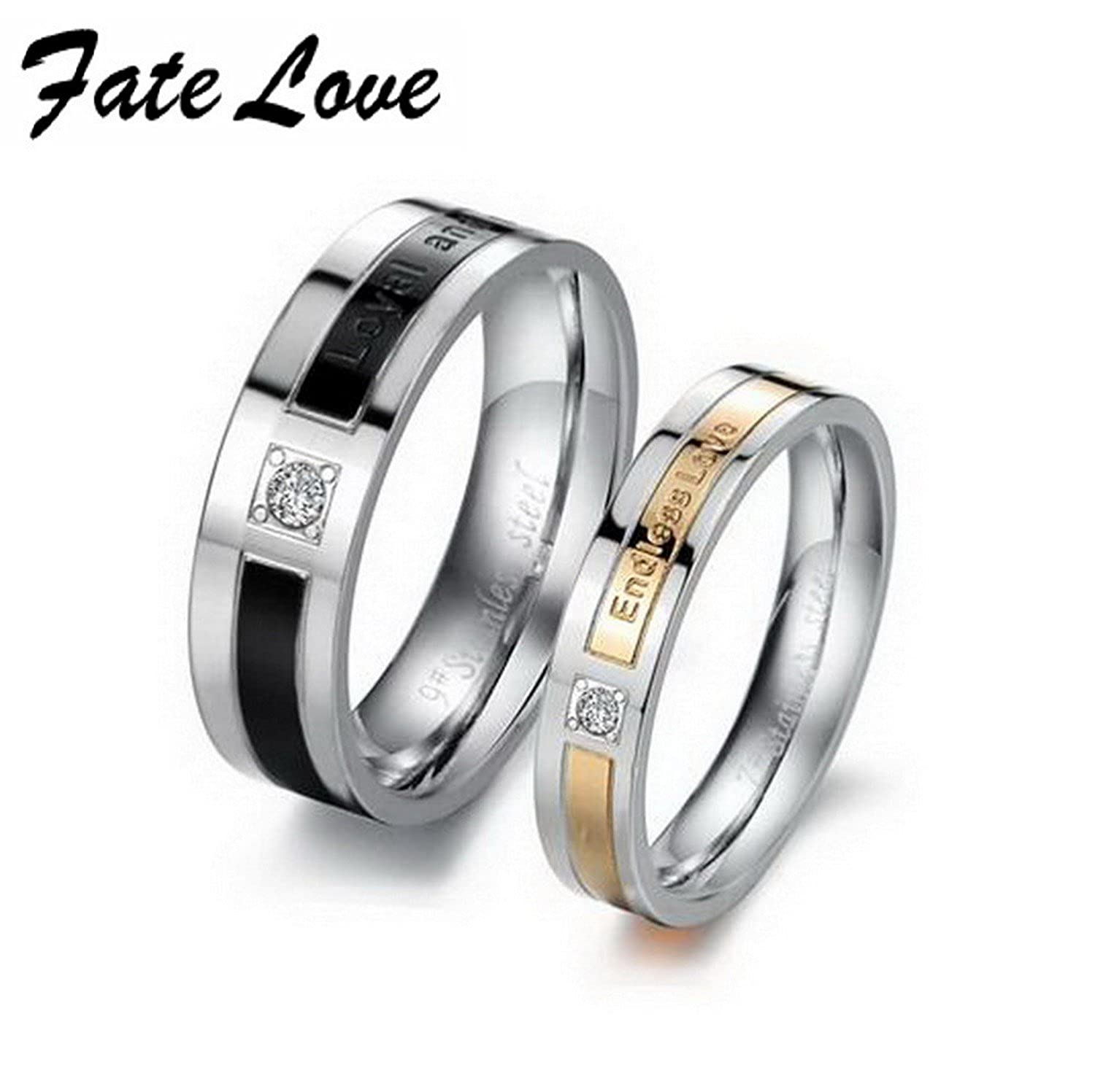 GemMart Jewelry Fashion stainless steel bling CZ titanium steel Couple Ring gj145 engagement bands