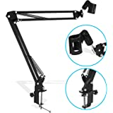 LIVIVO ® Professional Adjustable Microphone Desktop Arm –Folding Scissor Suspension Stand Holder/Shock Mount/Adjustable w Solid Boom Mic Clip – Perfect for Mounting on Desk Table Top for Recording