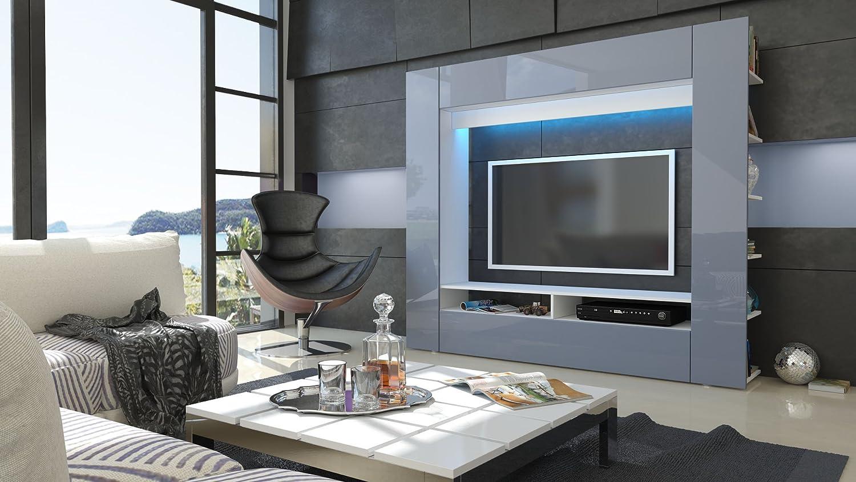 Wohnwand anbauwand olli in weiß / grau hochglanz: amazon.de: küche ...