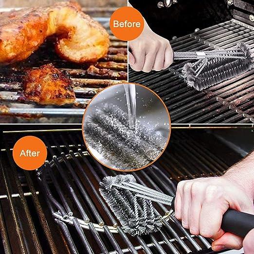 Cepillo de parrilla SKL 3 en 1 para barbacoa con espátula de acero inoxidable de limpieza duradera, cepillo de cerdas de alambre de acero inoxidable para ...