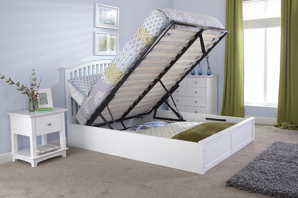 Right Deals UK Madrid 5 ft (tamaño King cama otomana - madera maciza ...