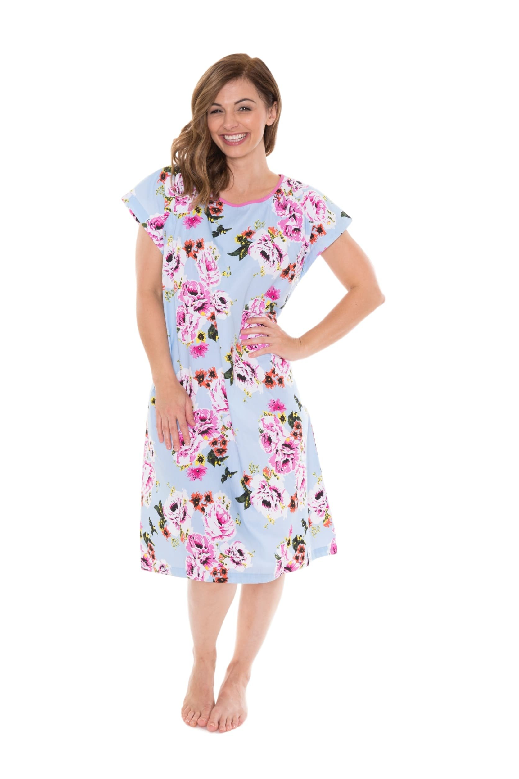 Gownies - Designer Hospital Patient Gown, 100% Cotton, Hospital Stay (L/XL Size 10-16, Isla) by Gownies (Image #1)