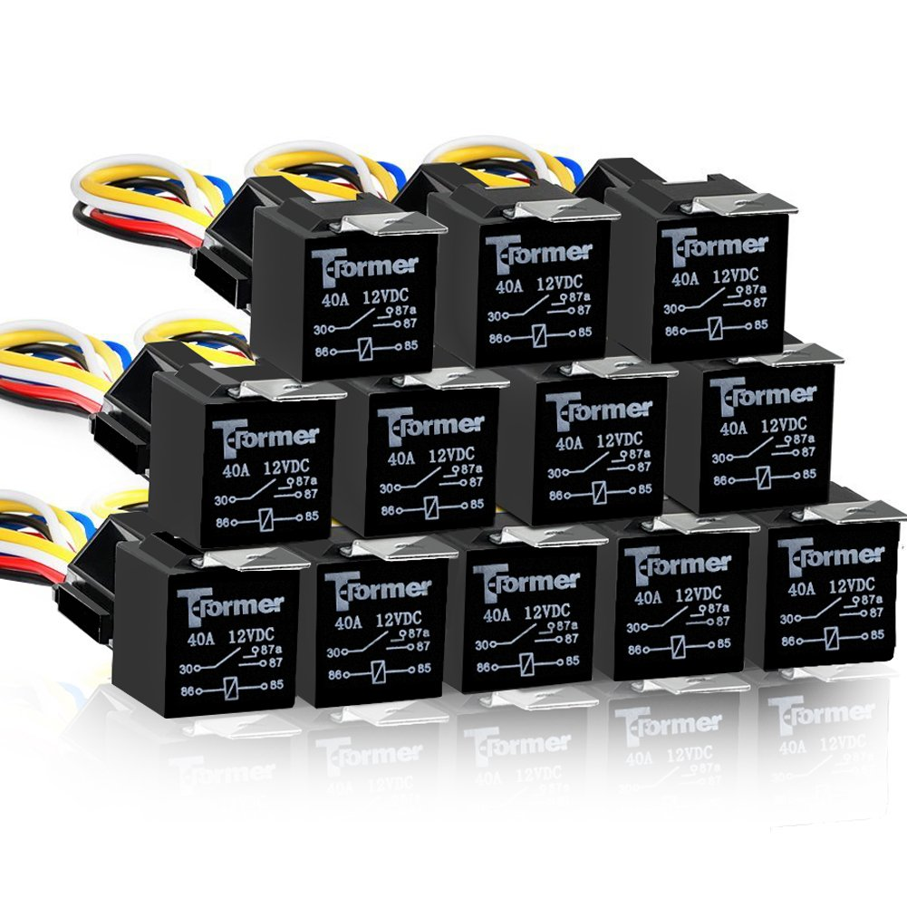 12 PACK 5 PIN SPDT Automotive Waterproof Relay Set Heavy Duty 40/30 AMP 12V DC Wiring Harness Set Relays w/ Interlocking Block Socket Holder + 12 Gauge Pigtails AWG Wire Harness T-Former 5 Pin SPDT Automotive Relays