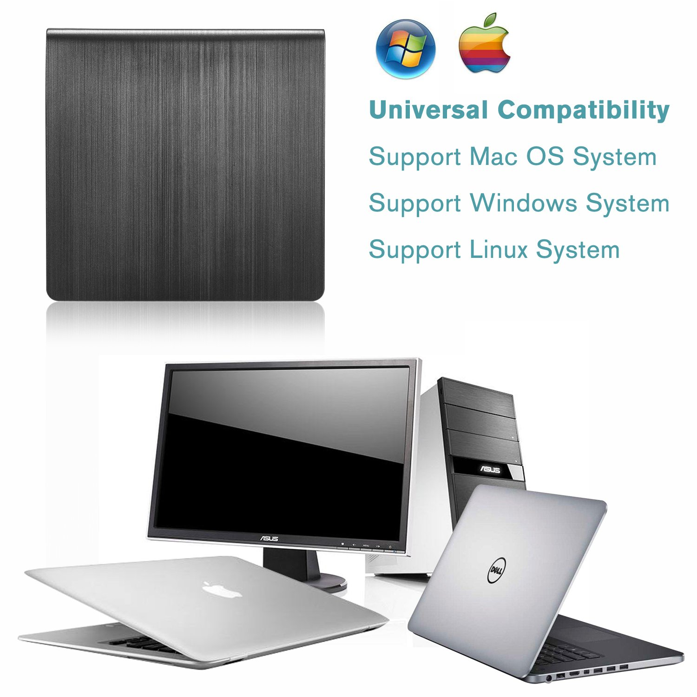 External DVD Drive LEADSTAR USB 3.0 CD DVD RW/DVD CD ROM Drive Writer Rewriter Burner for Mac OS Windows Linux System Laptop PC Desktop Notebook, Black by LEADSTAR (Image #3)