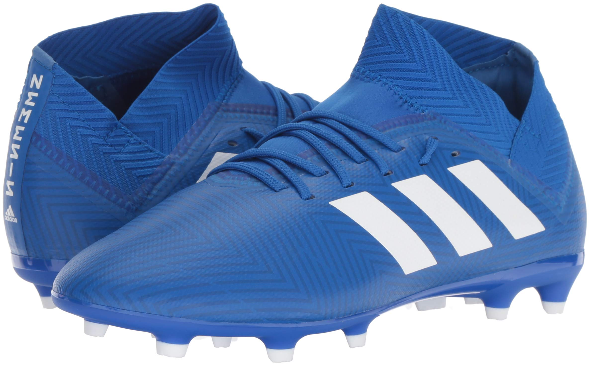 adidas Unisex Nemeziz 18.3 Firm Ground Soccer Shoe, White/Football Blue, 3.5 M US Big Kid by adidas (Image #6)