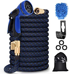 SANSUNTEK 50FT Garden Hose Expandable Water Hose with 10 Function Spray Nozzle,Durable 3/4 Solid Brass Lightweight Flexible Garden Water Hose,Strength Stretch Fabric 3750D Retractable Hose (50FT)