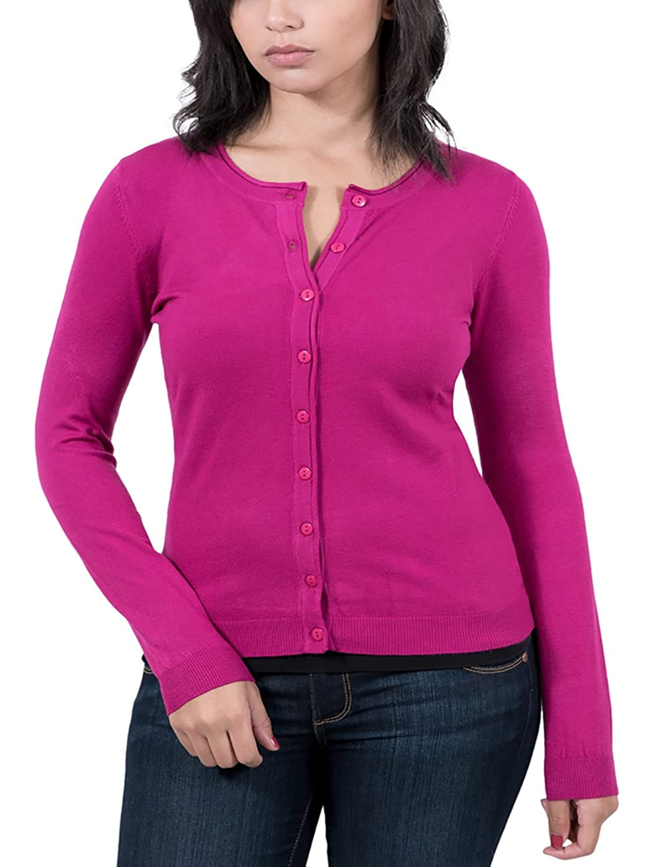 Real Cashmere Fuschia Cardigan Womens Sweater