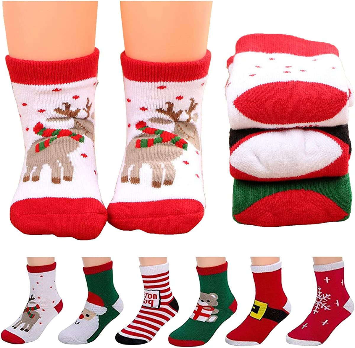Christmas Socks,5 Pairs Cotton Cartoon NewBorn Infant Toddler Soft Sock