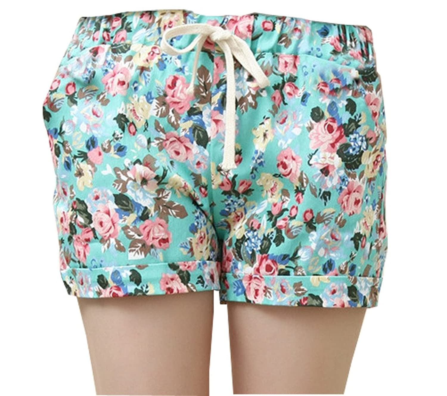 Girls Vintage Floral Print Sports Shorts Hot Pants Beachshorts