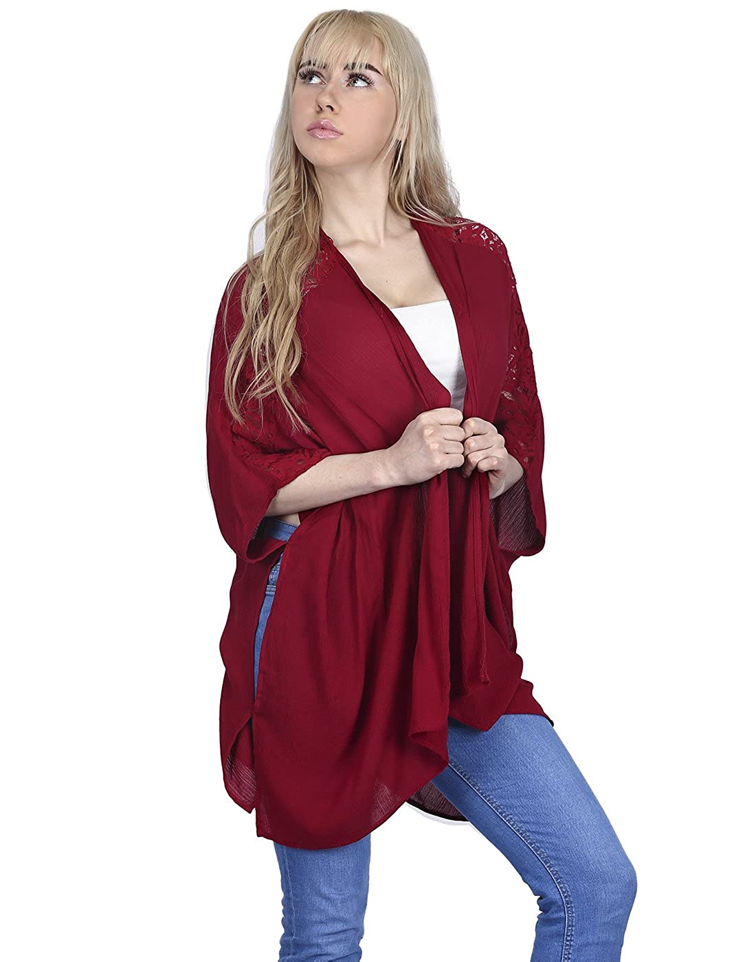 HDE Women's Plus Size Kimono Cardigan Open Front Sweater Loose Lace Sleeve Shawl