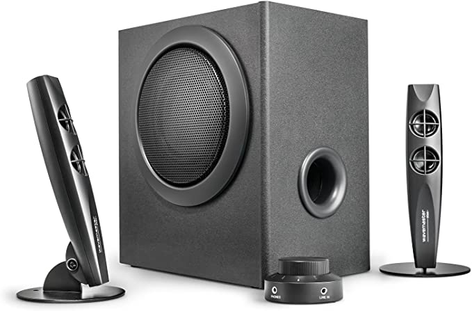 Wavemaster STAX - Sístema de Altavoces 2.1 Activos (46 Vatios) para el Uso con TV/Tableta/Smartphone/PC, Negro (66201)