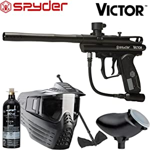 Spyder Victor Package .68Cal Paintball Kit Includes Sentry Goggle, Empty 20oz Co2 Tank, 200Rd Loader & Squeegee, Black