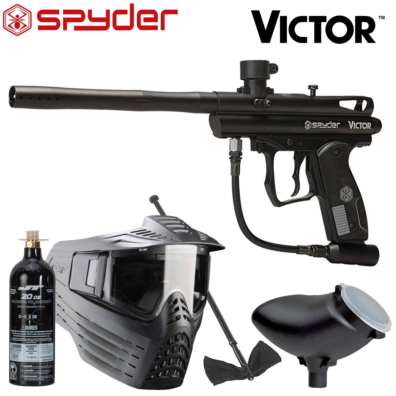 Spyder Victor Package .68Cal Paintball Kit Includes Sentry Goggle, Empty 20oz Co2 Tank, 200Rd Loader & Squeegee, Black by Spyder