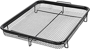 Navaris Air Fry Oven Tray - Non-Stick Grill Rack for Oil Free Frying, Roasting Chips, Nuggets, Meat, Fish, Poultry, Vegetables - Frying Grill Basket