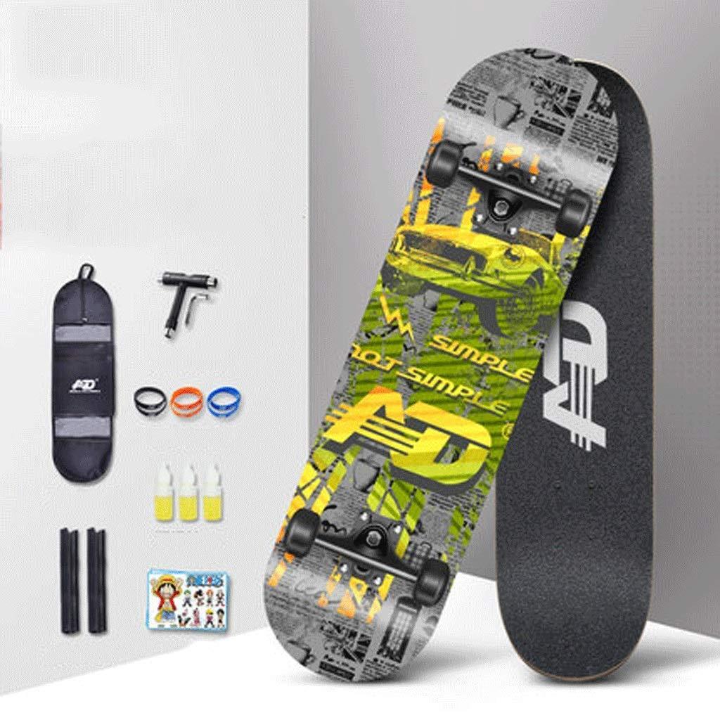 KYCD Skateboard Professionale Principianti Adulti Ragazzi e Ragazze Bambini in età evolutiva Bilaterale Bordo Inclinato Road Skateboard a Quattro Ruote (colore   Retro)