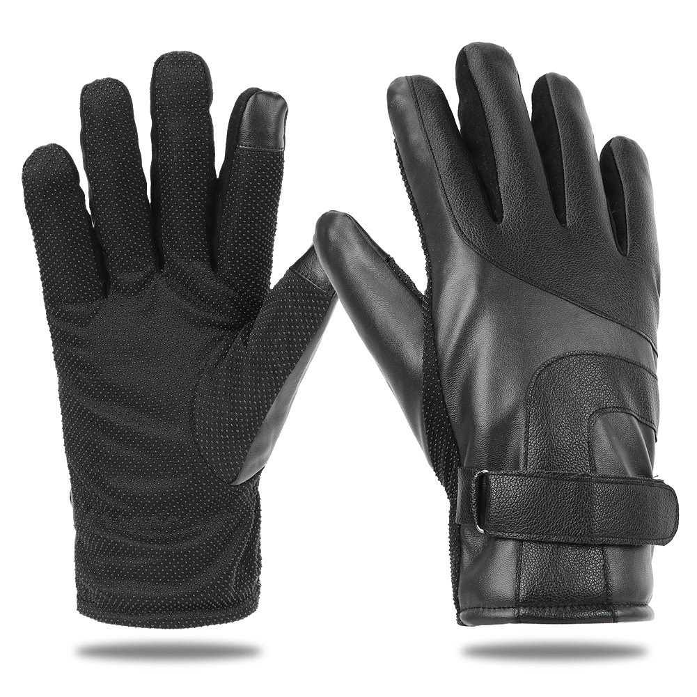 EGOGO Men Warm PU Leather Gloves with Thick Cashmere Fleece Lining for Winter and Fall Motorcycle Driving E607-1 (Black)
