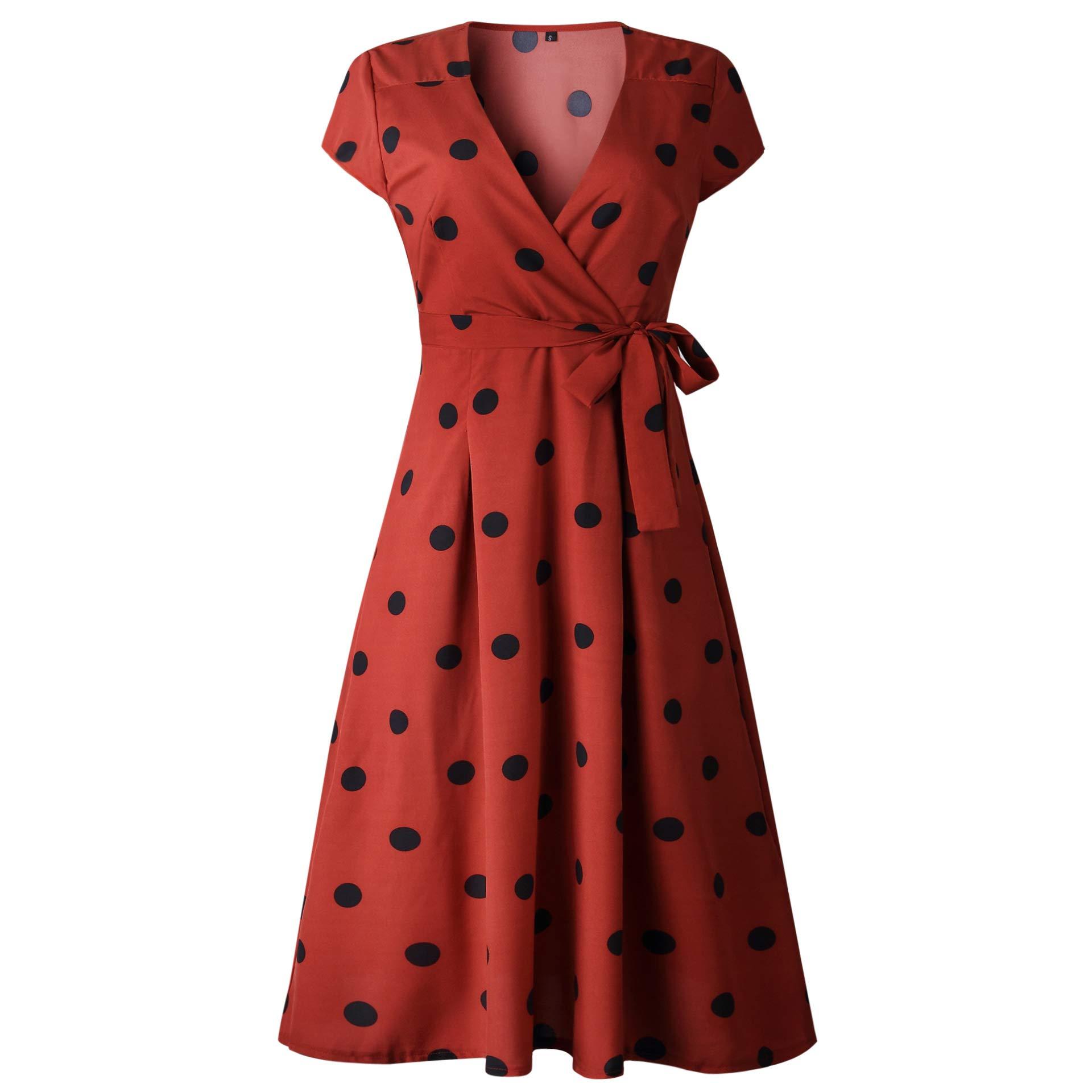 Women\'s Polka Dot Dress Vintage V Neck Pleated Wrap Dress A-Line Swing Midi Dress with Belt Brick Red L