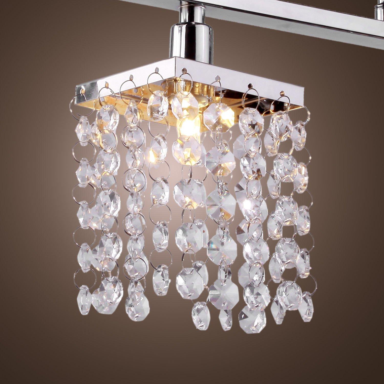 Yu0026L 3 Lights Hanging Crystal Linear Chandelier