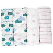 Emma & Noah Muslin Swaddle Blankets, Burp Cloths, 4 Pack, 100% Cotton, 31.5 x 31.5 inch, Pink