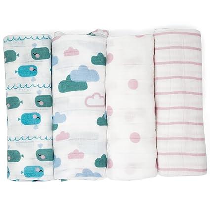 Muselinas para bebés de Emma & Noah, paquete de 4, 100% algodón,