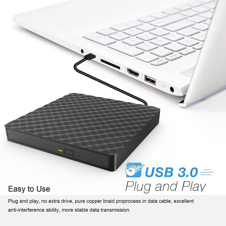Masterizzatore Ultra DVD USB 3.0, Amotus DVD-RW DVD / CD portatile esterno Slim, 9,5 millimetri, SuperDrive per tutti i PC laptop / desktop di Windows e Mac OS per MacBook, MacBook Air, iMac - Nero