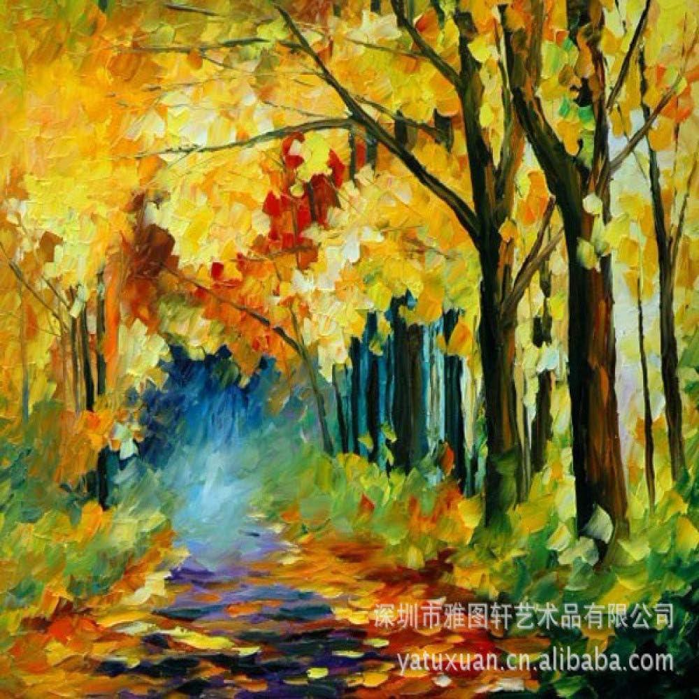 kanhaonio Pintura de Cuchillo de Color de Aceite Grueso sin Marco Paisaje Pintura al óleo Pintura Artesanal Paisaje de otoño 40 * 60 cm: Amazon.es: Hogar