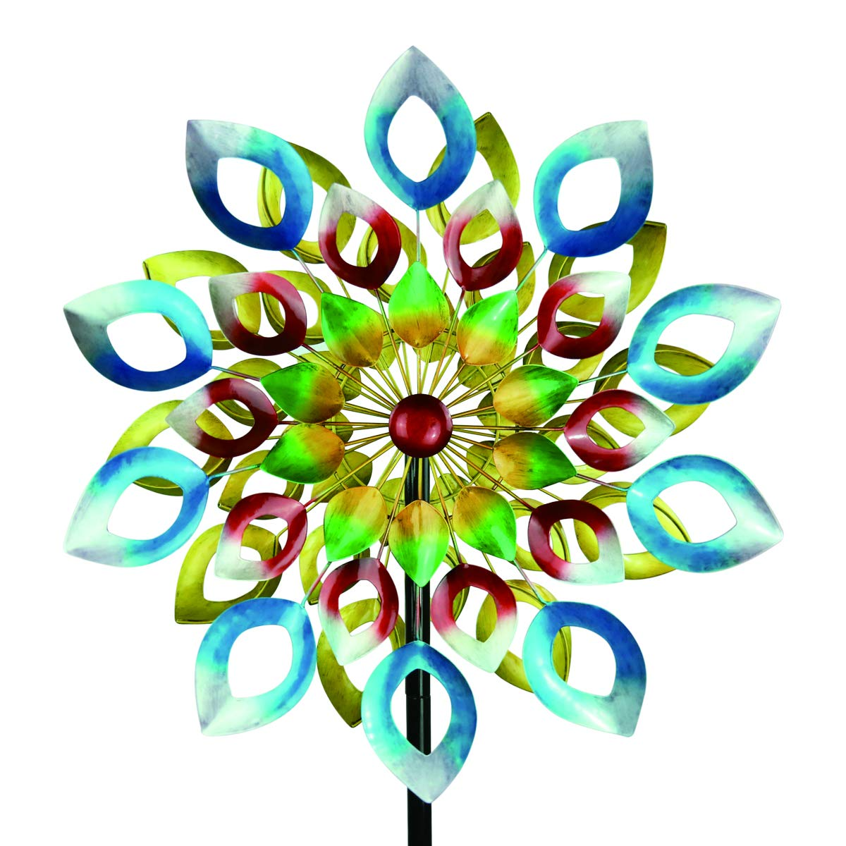 3D Kinetic Wind Spinners with Stable Stake Metal Garden Spinner with Reflective Painting Unique Lawn Ornament Wind Mill for Outdoor Yard Lawn Garden Decorations (Multi-Color)