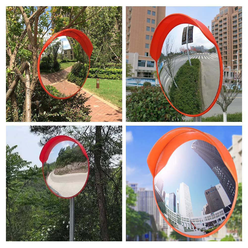 Wide Angle Convex Mirror for Driveways Garage Corner Parking Crossroads Stores Warehouse 24 Blind Spot Mirror Outdoor PC Traffic Security Mirror