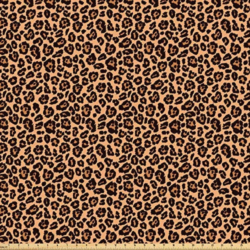 Ambesonne Leopard Print Fabric by The Yard, Leopard Texture Illustration Exotic Fauna Inspired Pattern, Microfiber Fabric for Arts and Crafts Textiles & Decor, 2 Yards, Orange Black