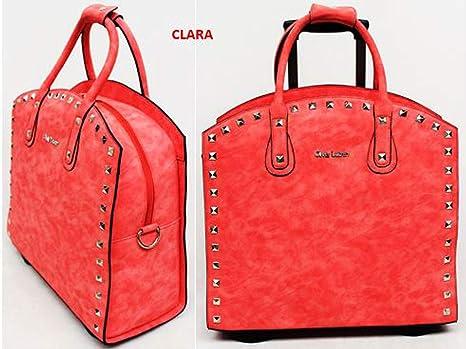 4ed6faeca8a1d Damen Aktenkoffer mit Rollen Business Umhänge Trolley Rot Terrakotta Bowatex   Amazon.de  Koffer