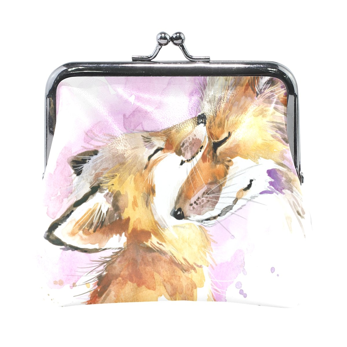 Women Vintage Buckle Coin Purse Fox Mother And Baby Small Pouch Wallet Clutch My Little Nest