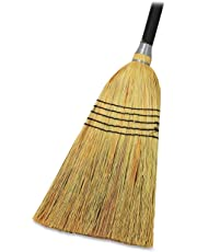 """Genuine Joe GJO58563 Natural Fiber Janitor Lobby Blend Manual Broom, 56"""" Handle Length, 11"""" Bristles"""