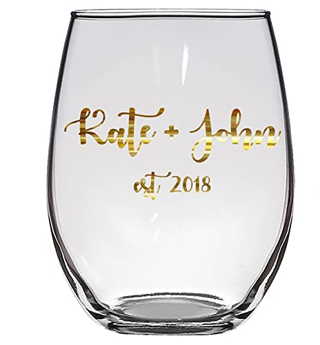 Amazon Flash Sale Custom Name Est 2018 Gold 15 Oz Wine