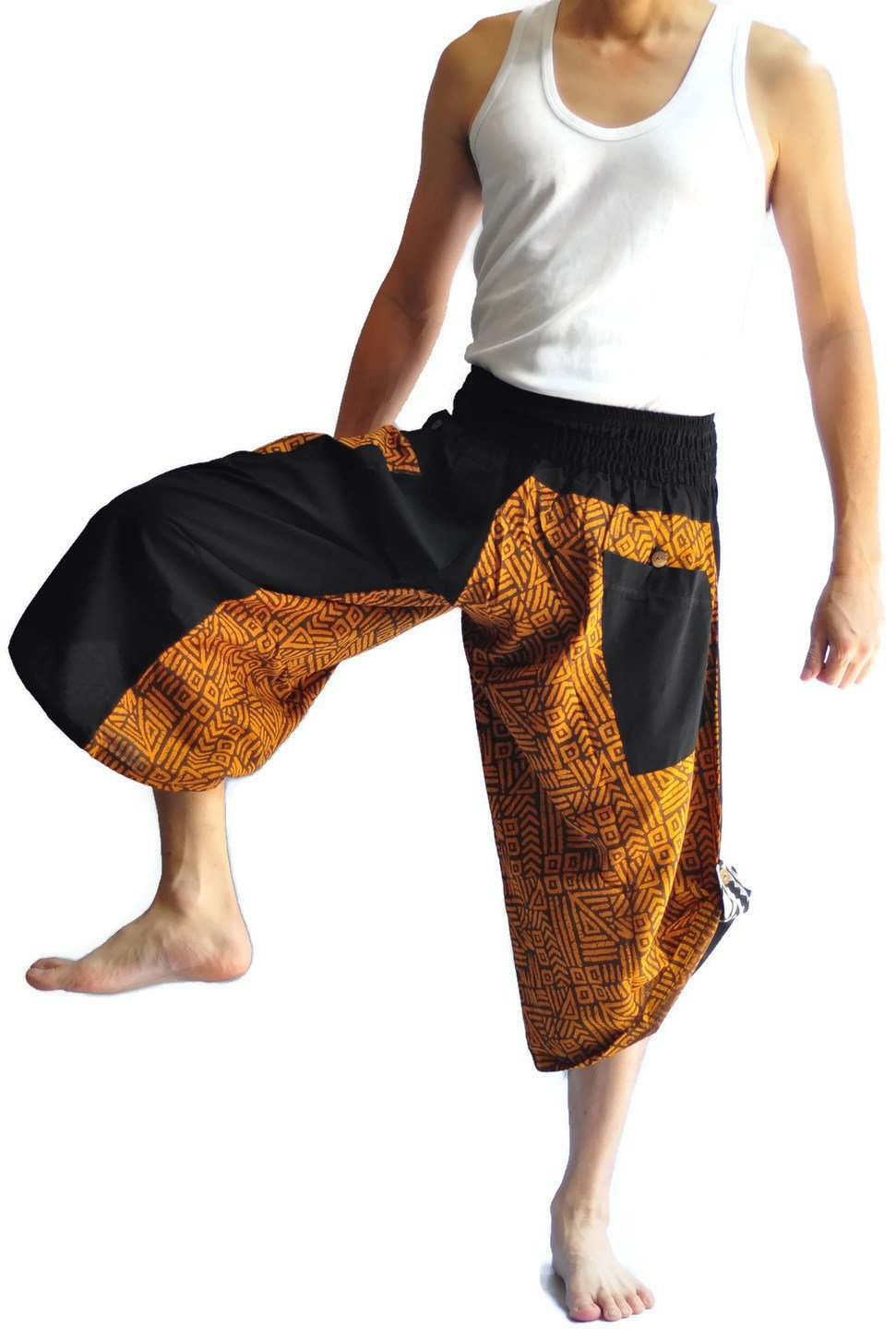 Siam Trendy Men's Japanese Style Pants One Size Black Tradition Stone (brown)
