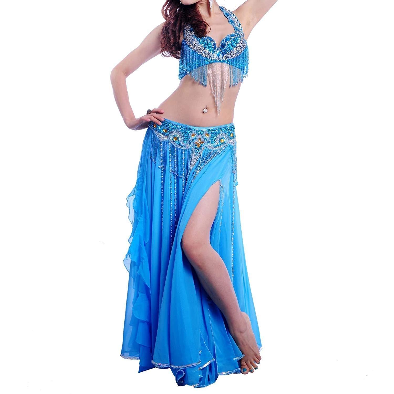 最も優遇の ベリーダンス衣装パフォーマンス衣装ダンススーツ ブルー、ビーズの光沢のあるブラウエストバンドワンピースA-D、7色3PCS B07Q8GDJN2 B07Q8GDJN2 M ブルー ブルー M ブルー M, マツウラシ:842ba9e9 --- a0267596.xsph.ru