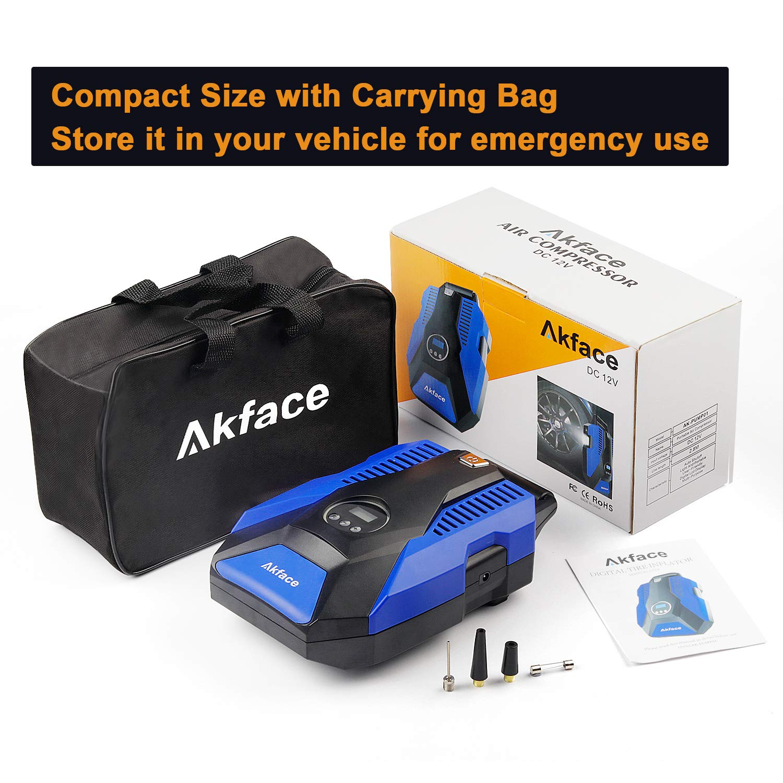 Akface Digital Tire Inflator W//Pressure Gauge for Car Bike Inflatables Portable Air Compressor Electric Auto Pump Auto Shut Off 12V DC 1 Piece Fuse 3 Additional Nozzles Bonus Storage Bag