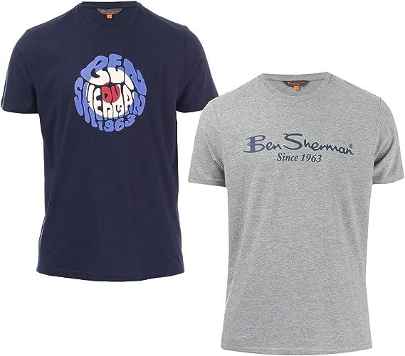 Ben Sherman - Camiseta para hombre (2 unidades), color azul marino y gris Azul azul M: Amazon.es: Ropa y accesorios