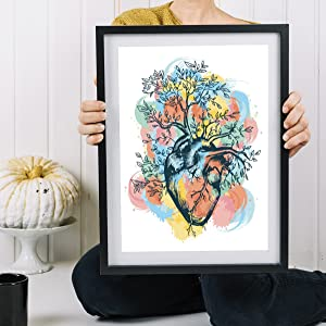 Nacnic Prints Tree & Roots with a Heart - Set of 1-250g Paper - Beautiful Poster Painting for Home Office Living Room