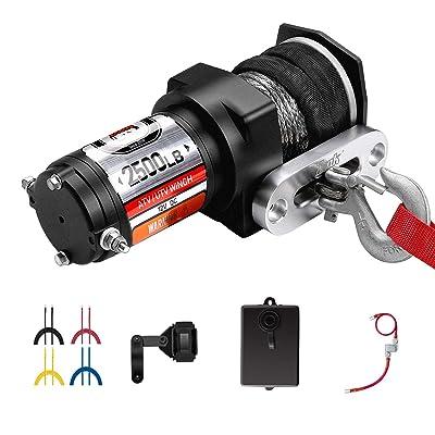 ZEAK 2500 lb. Advanced Off-Road 12V DC ATV/UTV Electric Winch, Synthetic Rope with Mini-Rocker Solenoid Kit: Home Improvement
