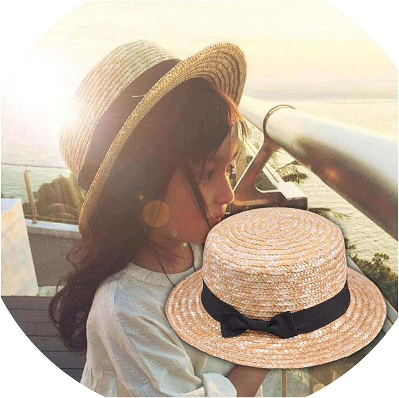 2019 Cute Child Girls Summer Bowknot Straw Sun Hat Boy Boho Beach Flat Top Fedora Hat Sunhat Trilby Kids Panama Hat