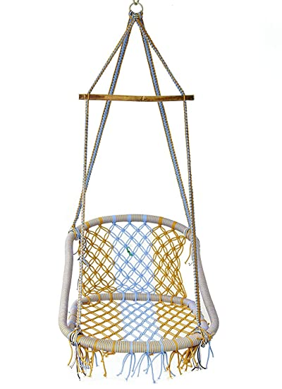 NOVICZ Hanging Swing Chair for Balcony Jhula for Kids Adults Home Indoor Outdoor Garden LVLY-XL-Multicolor 1 Year Warranty