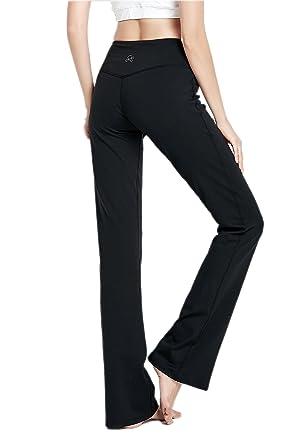 "b47b310067 VIGORPACE 35"" Inseam Length Women's Bootcut Yoga Pants Long Bootleg  Flare Pants Inner Hidden Pocket"