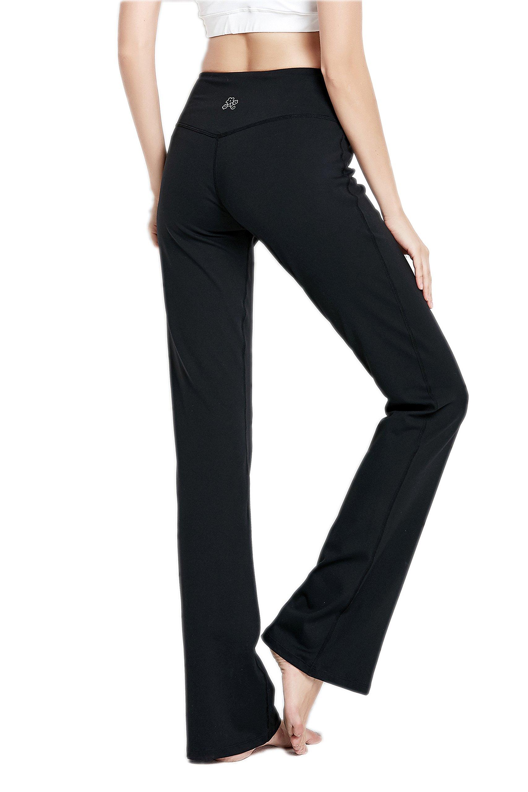 VIGORPACE 31'' Inseam Length Women's Bootcut Yoga Pants Long Bootleg Flare Pants Inner Hidden Pocket(XS)