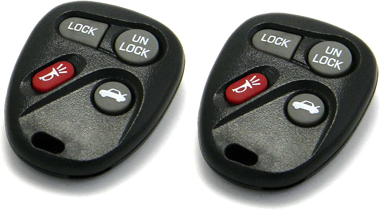 FCC ID: L2C0005T, P//N: 16263074-99 Pair of OEM Electronic 4-Button Key Fob Remotes Compatible With Cadillac Chevrolet Pontiac Saturn