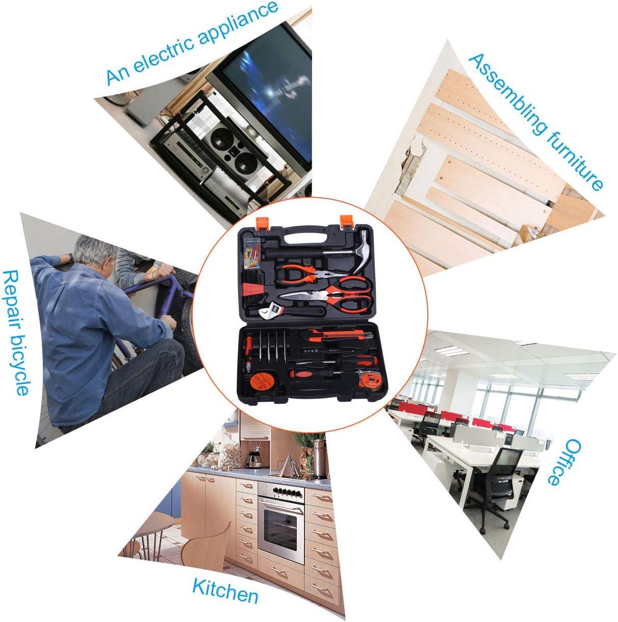 Birtech Werkzeugkoffer Haushaltskoffer Werkzeugset Werkzeugbox f/ür den Haushalt die Garage 102 teilig